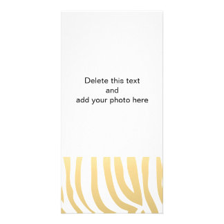 Gold and White Zebra Stripes Pattern Customised Photo Card