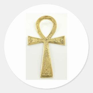 Gold Ankh Classic Round Sticker