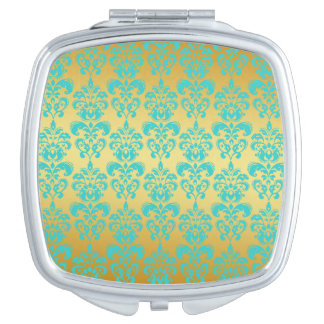 Gold, Aqua Blue Damask Pattern 2 Compact Mirrors