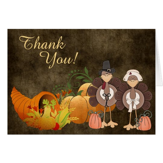 Gold Autumn Cute Turkey Couple Thank You Card