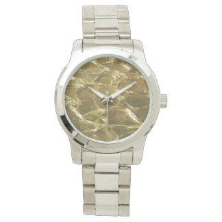Gold Bar Golden Glitter Festive Chic Silver Watch