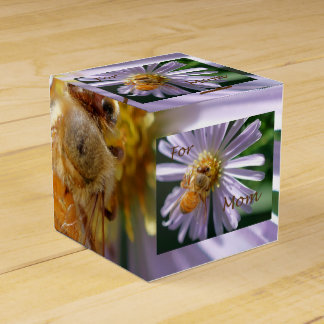 Gold Bee on a White Flower Mother's Day Favor Box Wedding Favour Boxes