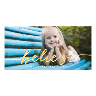 Gold Believe 2014 Holiday Photo Card