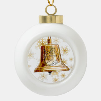 Gold Bell with Pentacle & Wreath - Ornament 2