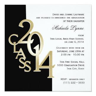 """Gold Black 2014 Photo Graduation Invitation 5.25"""" Square Invitation Card"""