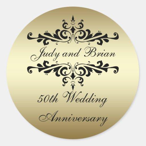 Gold Black 50th Wedding Anniversary Stickers