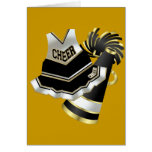 Gold Black and White Cheerleader Greeting Cards