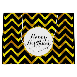 Gold black birthday wishes | Personalize Large Gift Bag