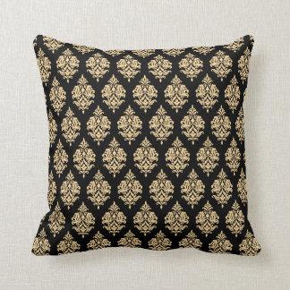 Gold,Black,Damask Pattern Throw Pillow
