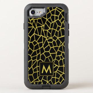 Gold Black Deco Monogram | Upscale Luxury Mosaic OtterBox Defender iPhone 8/7 Case