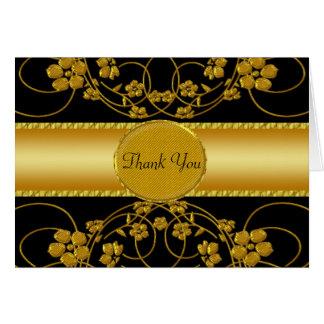 Gold & Black Floral Wedding Monogram Card