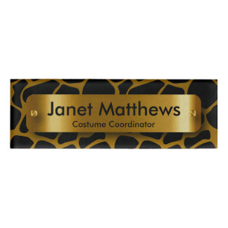 Gold & Black Giraffe Pattern with Gold Label Plate
