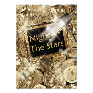 Gold black Hollywood stars Personalized Announcements