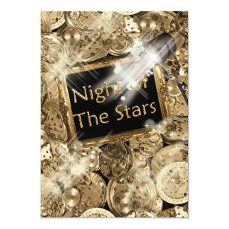 Gold black Hollywood stars 13 Cm X 18 Cm Invitation Card