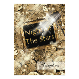 Gold black Hollywood stars 5x7 Paper Invitation Card