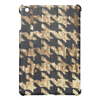 Gold Black Houndstooth Sequin Design Case For The iPad Mini