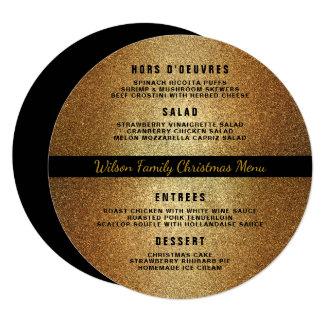 Gold Black Round Christmas Dinner Menu Template Card