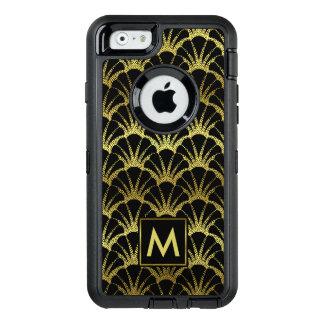Gold Black Shell Scale Pattern Retro Deco Monogram OtterBox Defender iPhone Case
