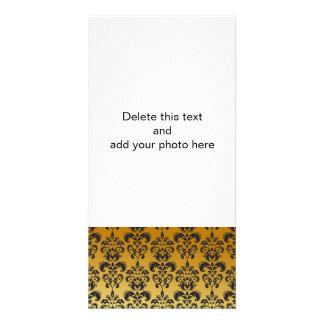 Gold Black Vintage Damask Pattern 2 Photo Card Template