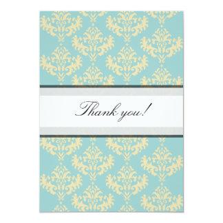 Gold & Blue Damask Thank you Card Custom Invitations