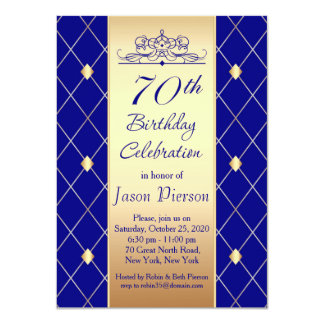 Gold blue diamond pattern 70th Birthday Party 11 Cm X 16 Cm Invitation Card