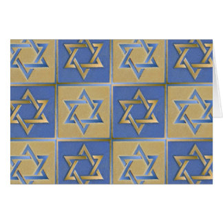 Gold Blue Star of David Art Panels Card