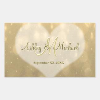 Gold Bokeh   Wedding Monogram Sticker