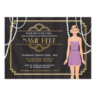 Gold Bridal Shower 1920s Gatsby Pearl Invitation