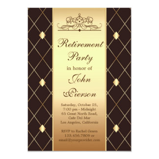 Gold brown diamond pattern Retirement Party Invite