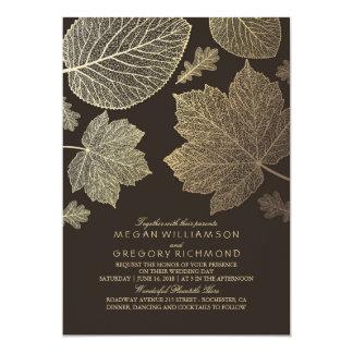 Gold Brown Leaves Vintage Fall Wedding 13 Cm X 18 Cm Invitation Card