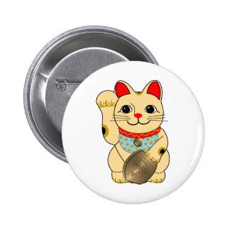 Gold Cat 6 Cm Round Badge