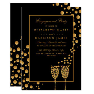 Gold Champagne Bubbles Engagement Party Card