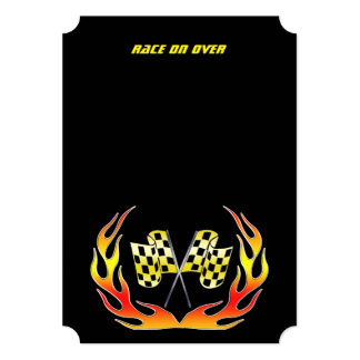 Gold Checkered flag and flames 13 Cm X 18 Cm Invitation Card