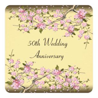 Gold Cherry Blossom 50th Anniversary Party 13 Cm X 13 Cm Square Invitation Card