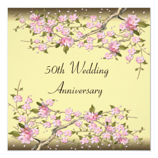 Gold Cherry Blossom 50th Anniversary Party Custom Announcements