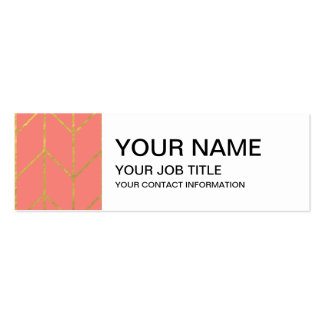 Gold Chevron Coral Pink Background Modern Chic Business Card Templates