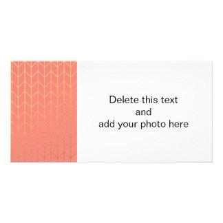 Gold Chevron Coral Pink Background Modern Chic Custom Photo Card