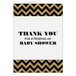 Gold Chevron Glitter Baby Shower Thank You Greeting Card