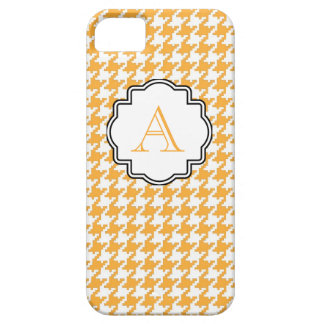 Gold Chevron Houndstooth Print Monogram Case For The iPhone 5