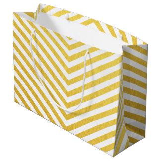 Gold chevron large gift bag
