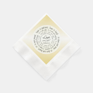 Gold Christian Love is Patient Wedding Napkins Paper Serviettes