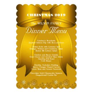 Gold Christmas Dinner Custom Menu Card