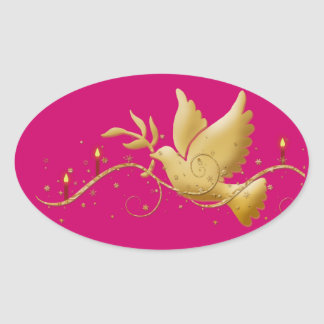 Gold Christmas dove of peace candles Oval Sticker