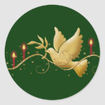 Gold Christmas dove of peace candles Round Sticker