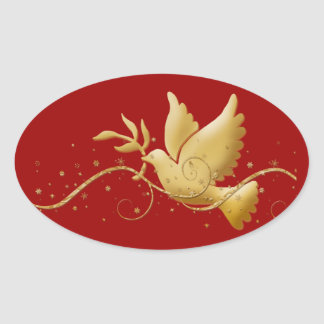 Gold Christmas dove of peace christian event stick Oval Sticker