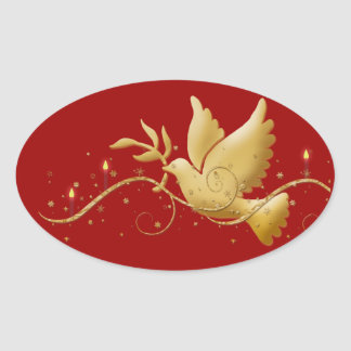 Gold Christmas dove peace candles Oval Sticker