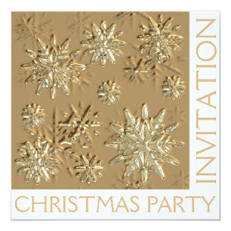 Gold Christmas Party Snowflake Invitation Card