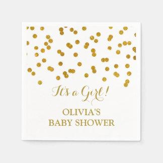 Gold Confetti Baby Shower Disposable Serviettes