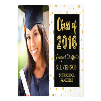 Gold Confetti Black White Graduation Magnetic Card Magnetic Invitations