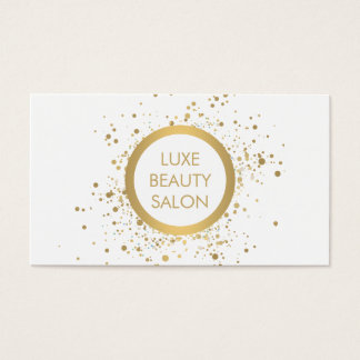Gold Confetti Circle White Business Card